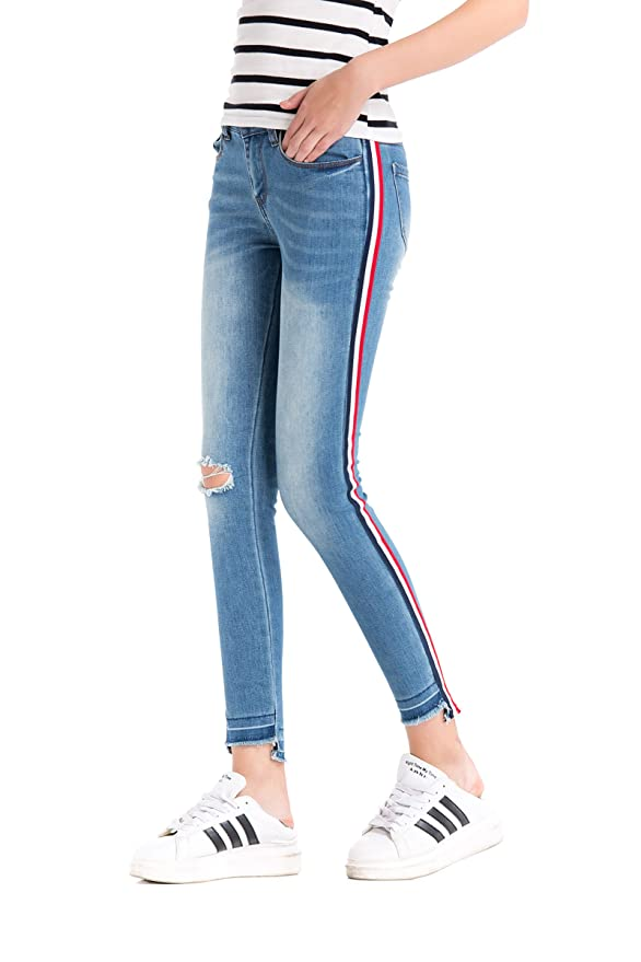 Pohiya Women's Side Stripe Ripped Jeans for Teen Girls Light Blue Juniors Skinny Denim Pants