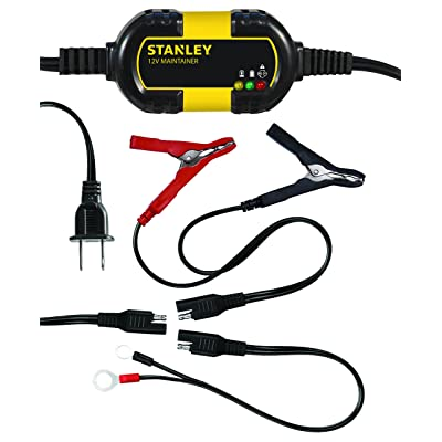 STANLEY BM1S Fully Automatic 1 Amp 12V Battery Charger/Maintainer with Cable Clamps and O-Ring Terminals: Automotive