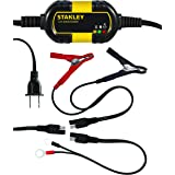 STANLEY BM1S Fully Automatic 1 Amp 12V Battery Charger/Maintainer with Cable Clamps and O-Ring Terminals