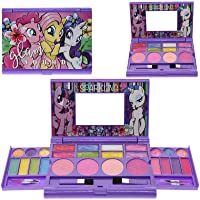 My Little Pony Cosmetic Compact Set with Mirror 22 Lip glosses, 4 Body Shines, 6 Brushes Colorful Portable Foldable Make Up Beauty Kit for Girls