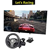 HIOTECH Sport Racing Wheel, 270 Degree Rotation Pro Racing Wheel with function buttons for PS 3/4 PC XBOX 360/One NS Switch Android