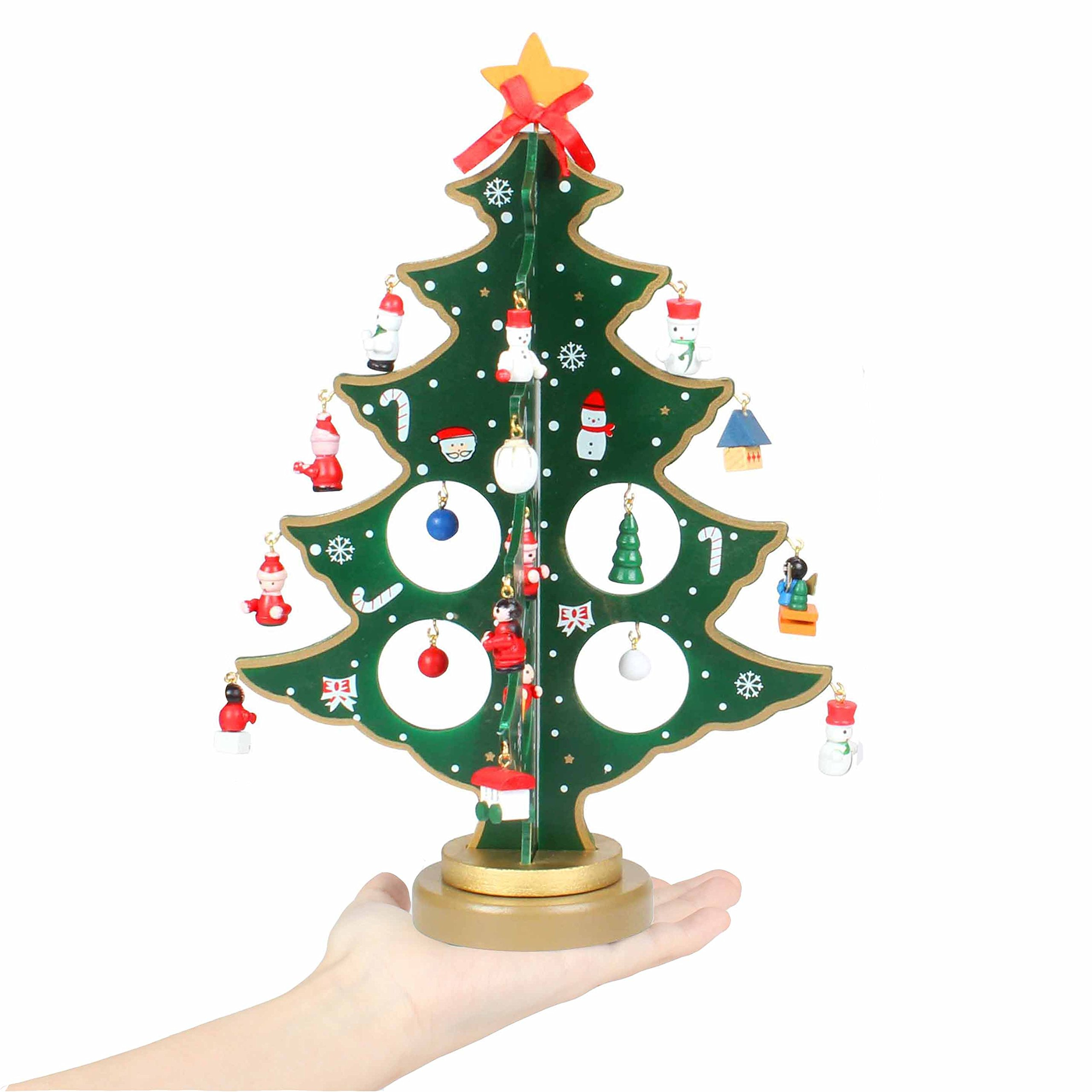 Wooden Christmas Desk Tree Ornaments Festival Party Gift Home Office Decoration tree (Green Tree)