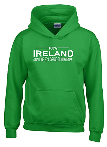 100/% Ireland Six Nations 2018 GRAND SLAM WINNERS Mens Rugby Hoodie