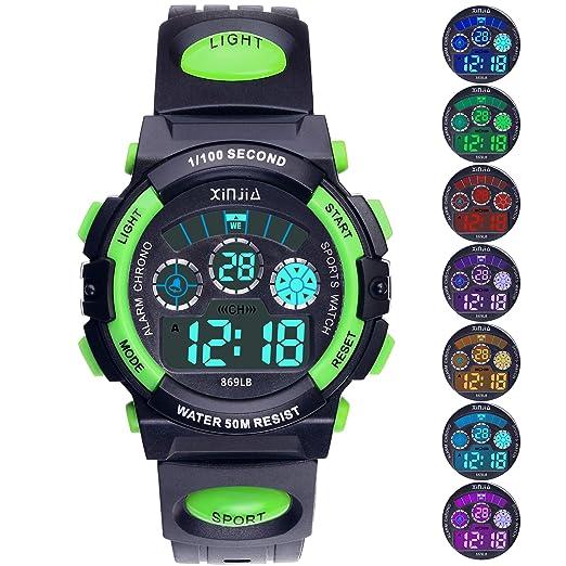 Reloj Digital para Niños,Niños Niñas 50M (5ATM) Impermeable 7 Colores LED Relojes