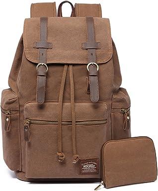 ed8a0b21e8b8c KAUKKO Vintage Canvas School Backpack Multi-Functional Hiking Travel  Millitary Rucksack for Men and Women