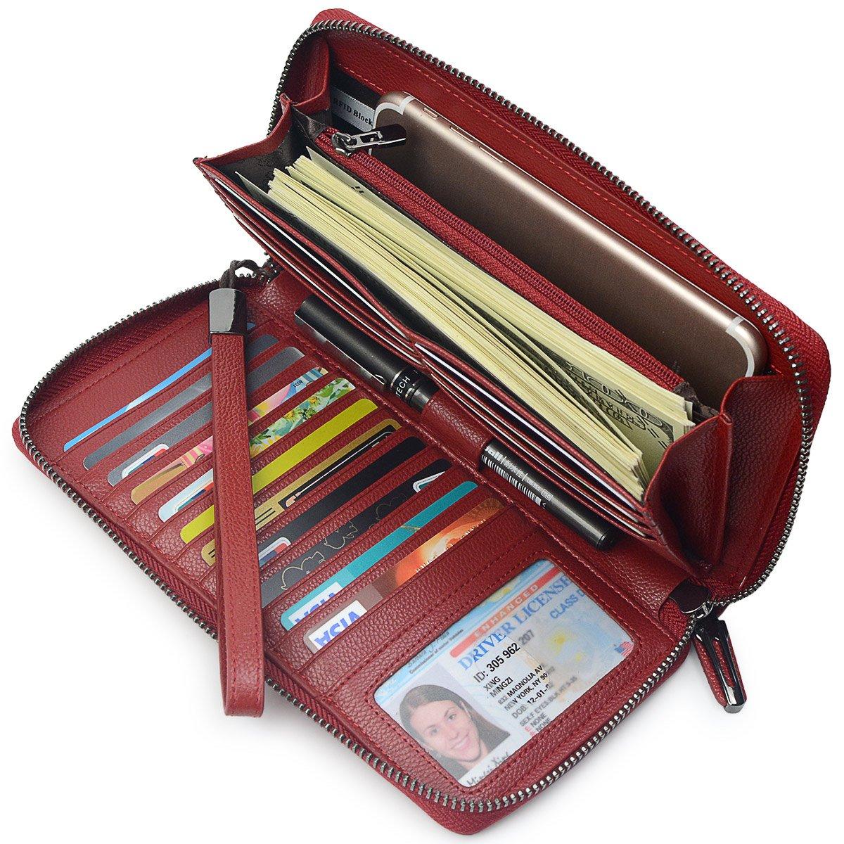 Women RFID Blocking Wallet Leather Zip Around Clutch Large Travel Purse Wrist Strap (Wine Red)