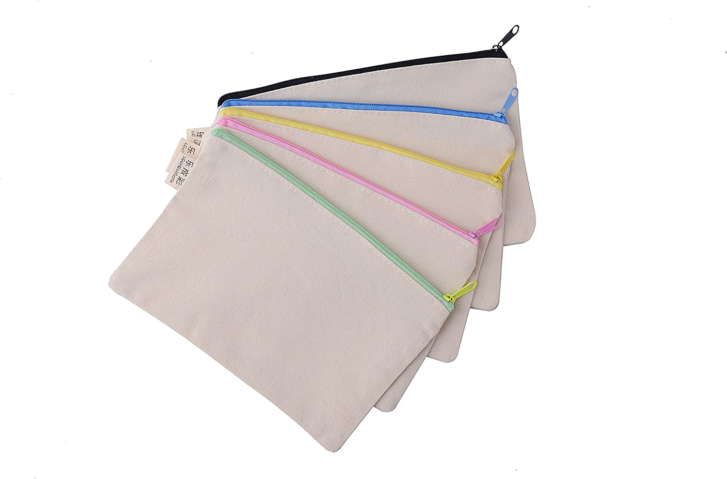 Large Blank Canvas Pen Pencil Case Stationery Pouch Coin bag Cosmetic Bags, Set of 5