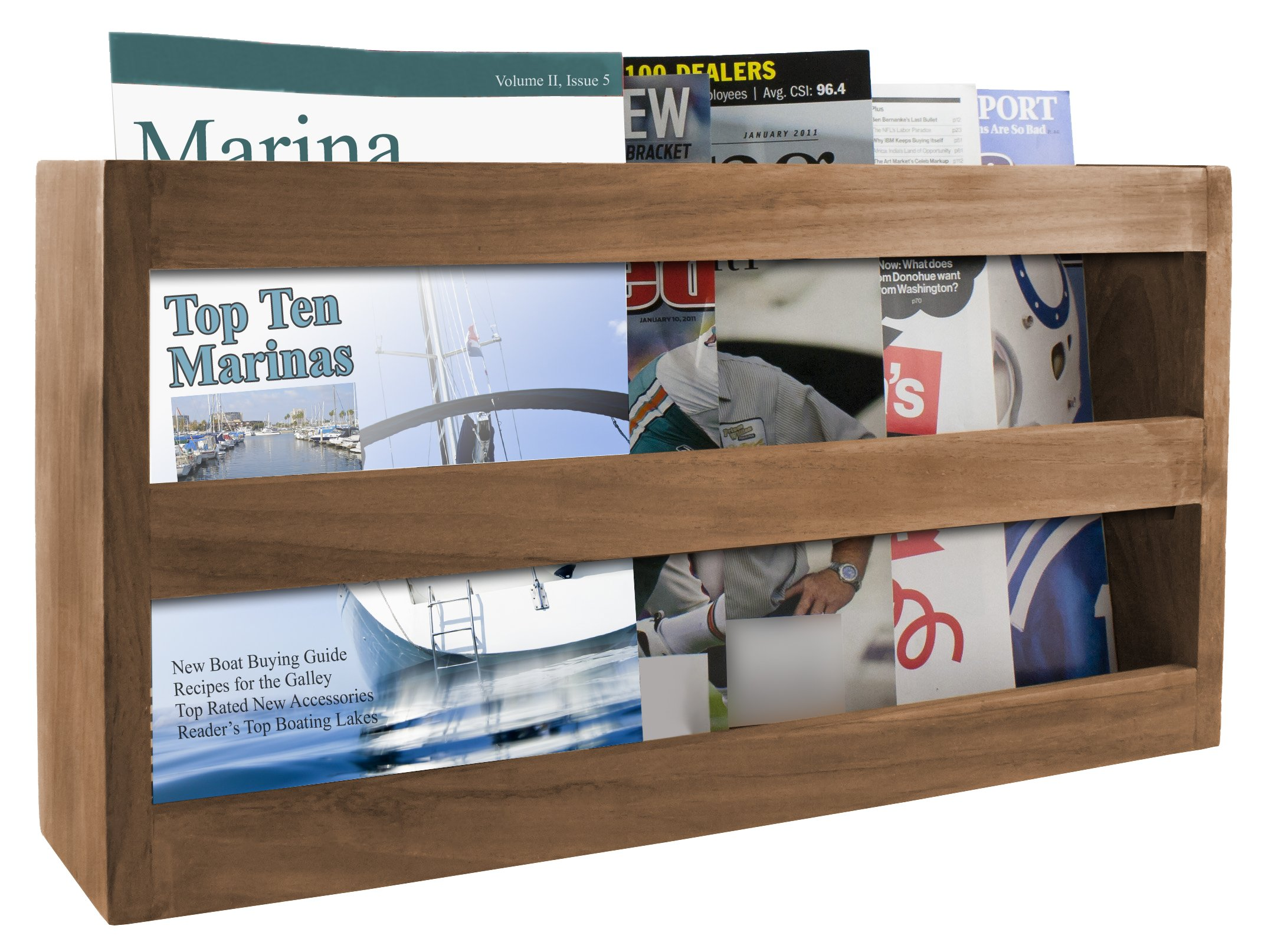 SeaTeak 62508 Double-Wide Teak Magazine Rack, Wall Mount or Free Standing by SeaTeak