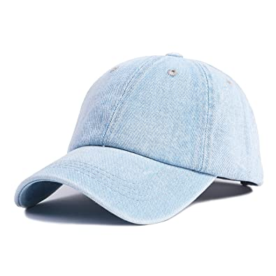 5cde1a86bfa Choomon Unisex Cotton Denim Baseball Cap Dad Hat Adjustable Strap with  Metal Clip Buckle Polo