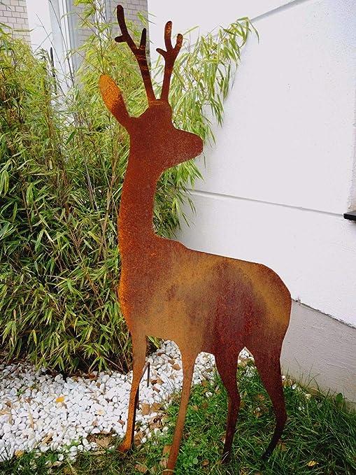 Zen Man 031862 - Figuras de Ciervo Oxidado para jardín, 60 x 1,62 x 125 cm: Amazon.es: Jardín