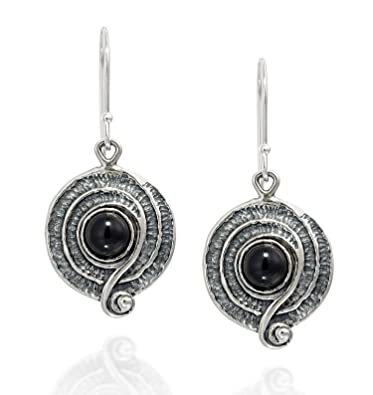 c34eeb76f Amazon.com: Vintage Style 925 Sterling Silver Black Onyx Dangle Earrings  with Decorative Spiral or Swirl Design: Jewelry