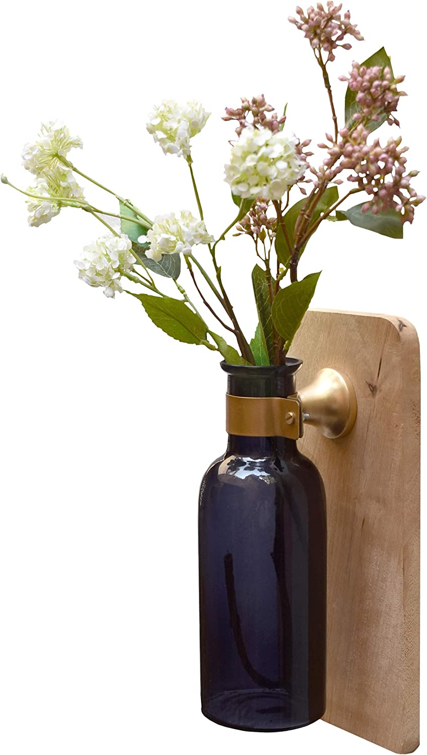 AIKYA Hanging Rustic Flower Vase in Grey with Faux Flowers Arrangement – Floral Farmhouse Sconces Wall Decor is a Modern Decoration for Home or Office – Classy and Elegant