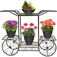 Deals on Sorbus FLR-ST1-BRN Garden Cart & Flower Pot Stand 6-Tiers