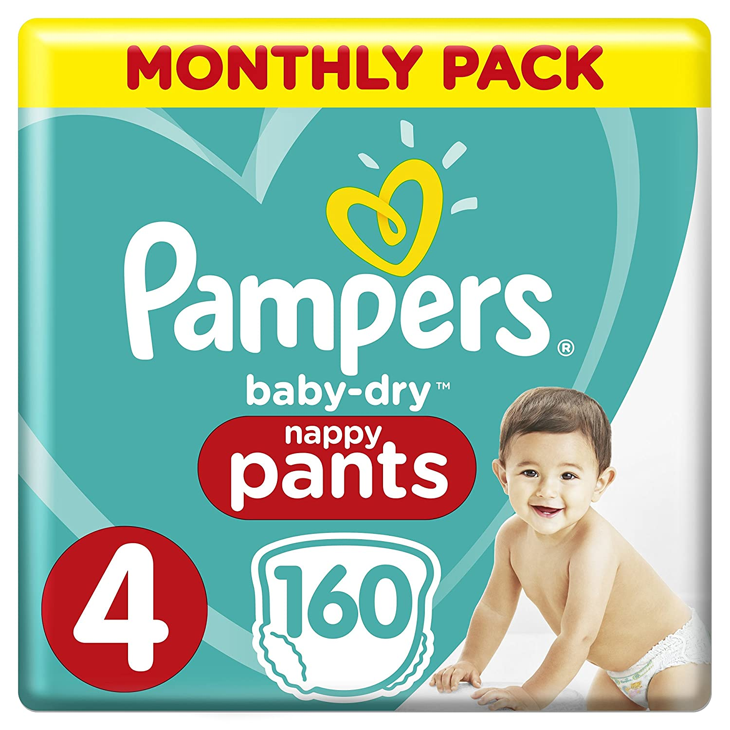 Pampers Baby-Dry Size 4, 160 Nappy Pants,(8-14 kg), Easy-On for Up to 12 Hours of Breathable Dryness, Monthly Pack - Packaging May Vary Procter & Gamble 81647146