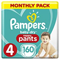 Pampers Baby-Dry Size 4, 160 Nappy Pants,(8-14 kg), Easy-On for up to 12 Hours of Breathable Dryness, Monthly Pack - Packaging May Vary
