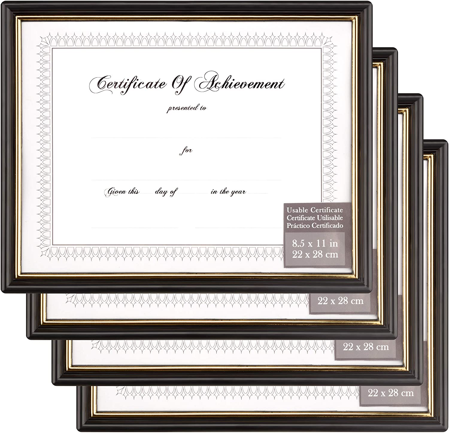 Gallery Solutions 11x14 Black Satin Document Frame with Double White Mat for 8.5x11 Document or Image