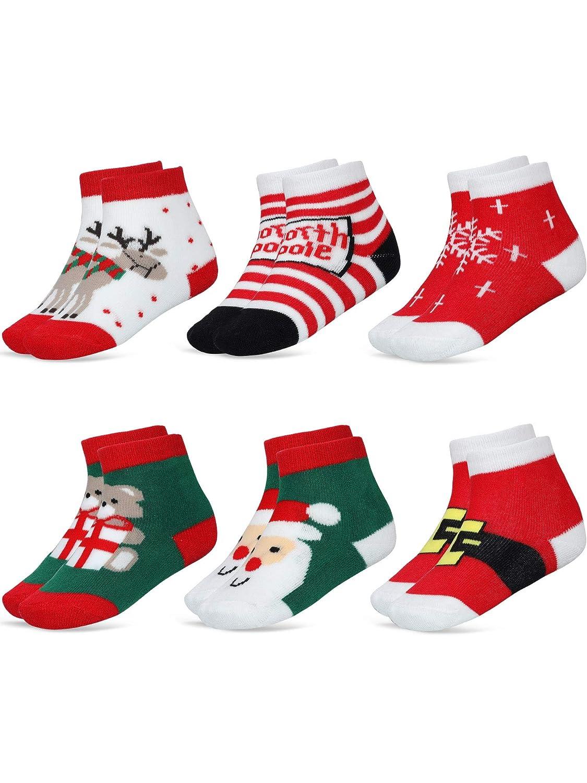 SATINIOR 6 Pares Calcetines de Dibujos Aanimados de Navidad de Beb/é Ni/ños Calcetines Lindos de Algod/ón para Ni/ñas Ni/ños