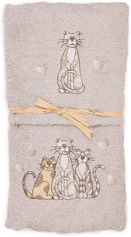 2er-Set Handt/ücher Motiv Katze//Katzen aus 100/% Baumwolle mit gesticktem Katzenmotiv Beige Geschenkidee. Handtuch und Gesichtstuch