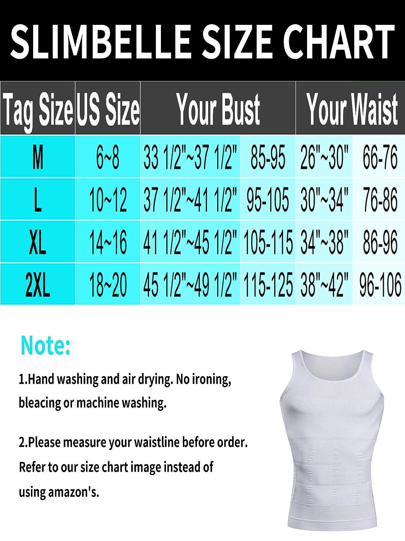 SLIMBELLE Mens Seamless Compression Shirts Muscle Tank Top Tummy Control Slimmer Shapewear Gynecomastia Undershirt
