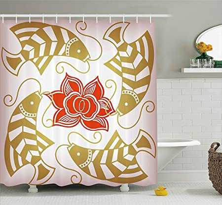 Asian themed shower curtain