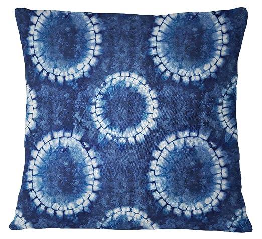 S4Sassy Shibori Print Funda de cojin Azul Indigo Algodon ...