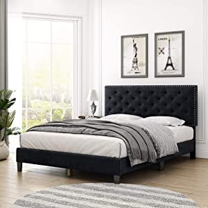 HOMECHO Queen Bed Frame, Modern Upholstered Platform Bed with Headboard, Heavy Duty Bed Frame with Wood Slat Support, No Box Spring Required, Easy Assembly (Queen, Black)