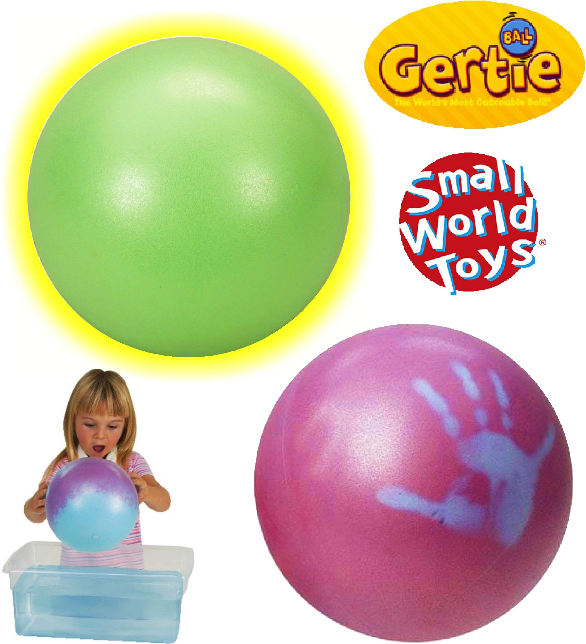 Small World Toys Gertie Balls Glow in The Dark & Magic Gertie Ball Gift Set Bundle - 2 Pack