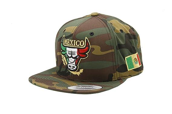 a1a062872c4fa6 PeligroSports Snapback Yupoong Mexico Bull Logo Hat (Camo) at Amazon ...