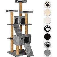 TecTake Arbre à Chat Griffoir corde de coco 169 cm | 2 Grottes | 3 Plateformes - diverses couleurs au choix - (gris | No. 402192)
