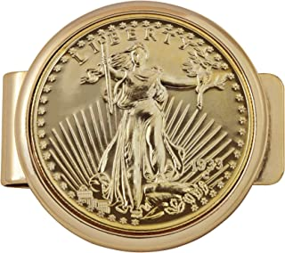 product image for Gold Tone Coin Money Clip - Tribute To $20 1933 Saint Gaudens Double Eagle Gold Piece Goldtone Pocket Money Clip - Holder