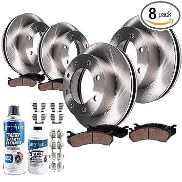 Detroit Axle - Complete FRONT & REAR Brake Rotors & Ceramic Brake Pads  w/Hardware, Brake Fluid & Cleaner for 8-Lug w/4 63