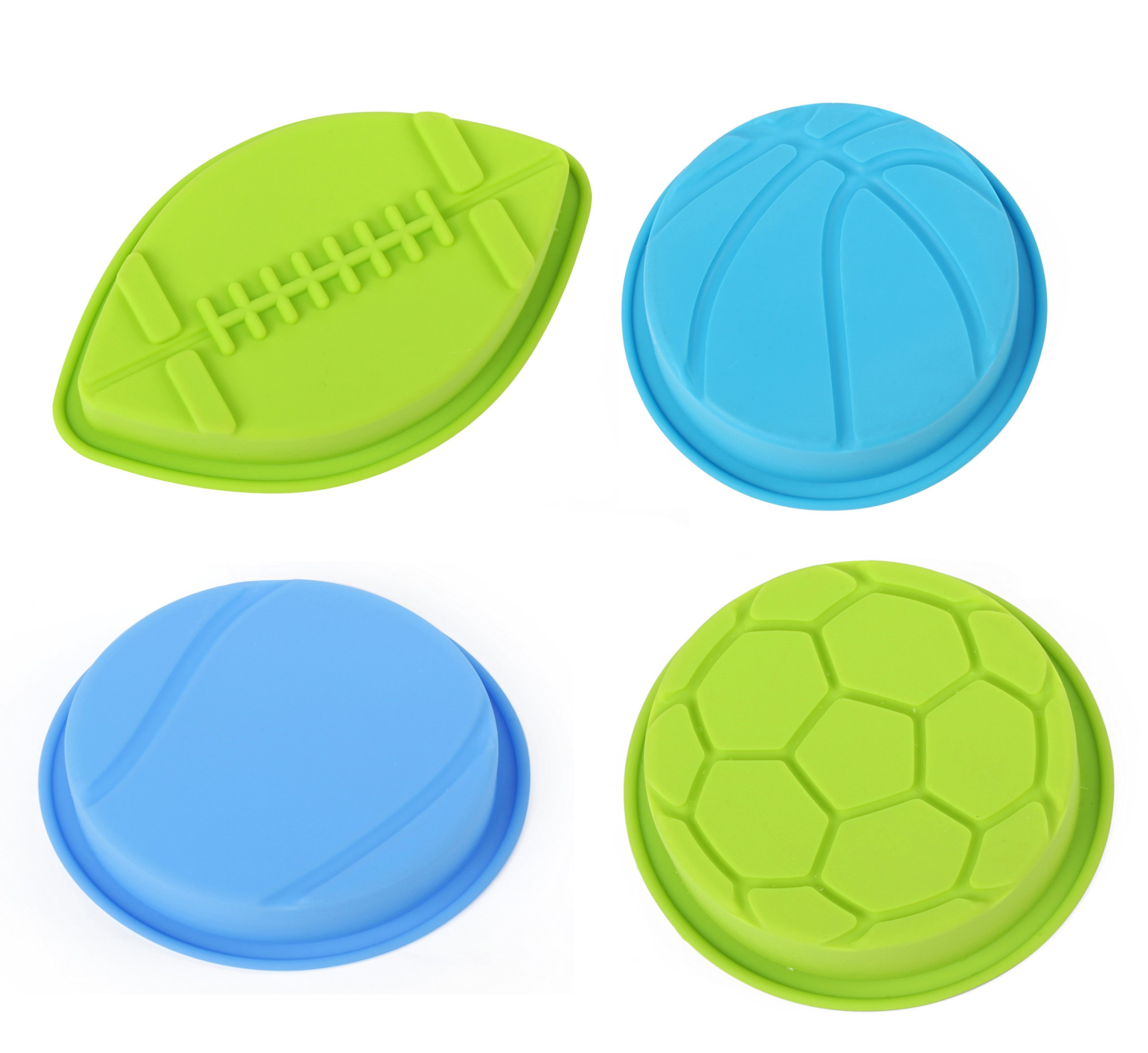 Home Value Colorful Silicone Sports Ball Set'' Soccer, Tennis, Baseball, Basketball '' Cake Mold, Assorted Colors (HVCOOKIECUTSC09) by Value Home (Image #1)