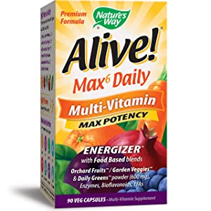 Nature's Way Alive!® Premium Max6 Daily Multi-Vitamin Energizer w/Food Based blends, 90 Vcaps