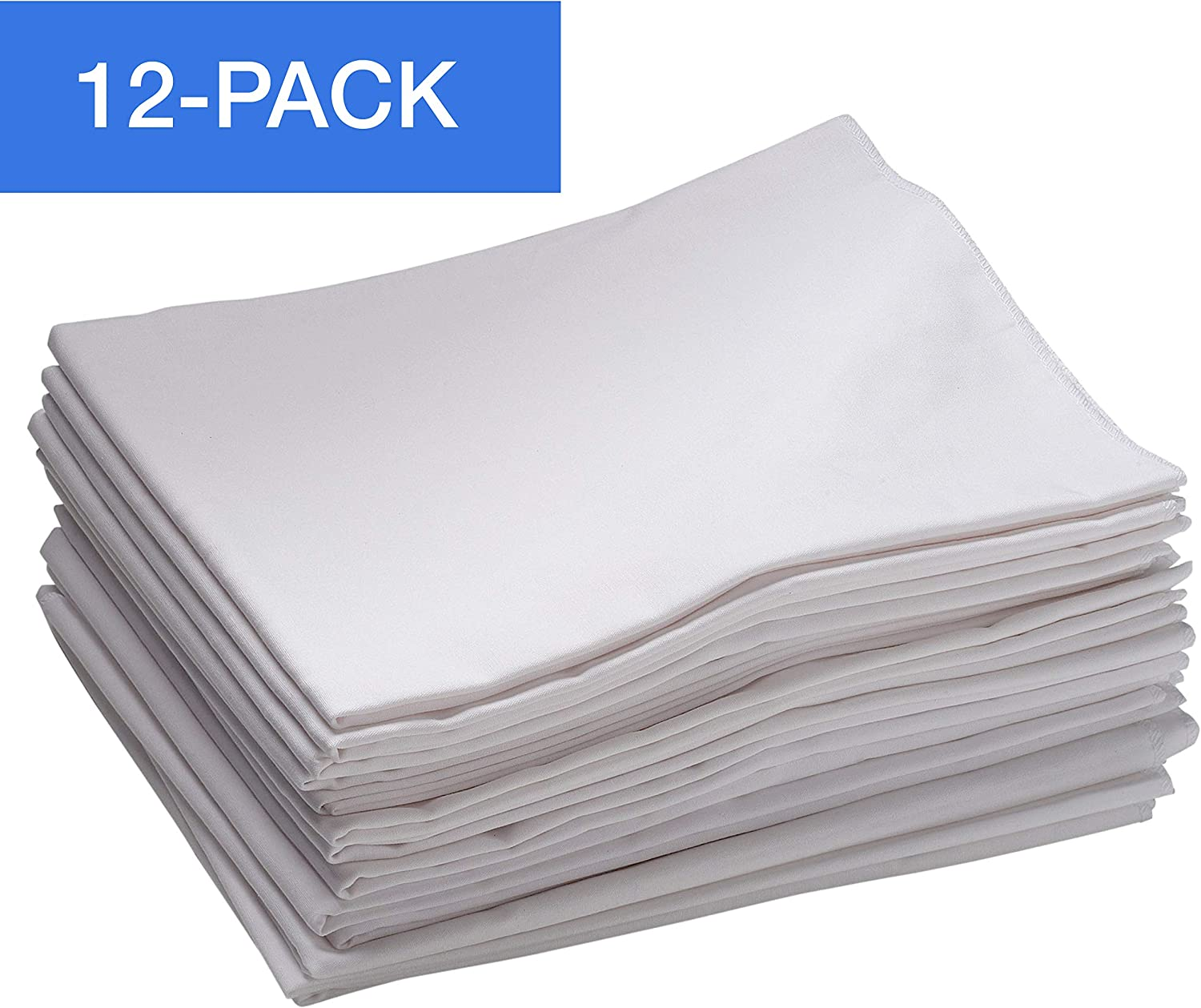 "ECR4Kids 12-Pack Toddler Cot Sheet with Elastic Straps, Toddler Size Daycare and Preschool Cot Sheets for Rest Time, 40"" x 21.75"" – White"