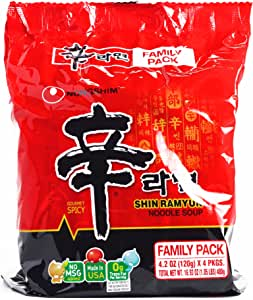 Nongshim Shin Ramyun 4-Pack 16.8 oz Each (6 Items Per Order, not per case)