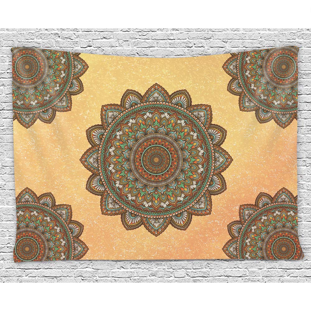 Orange Pattern SZDR Tapestry Wall Hanging Indian Mandala Tapestry Hippie Mandala Wall Hanging Indian Decoration Boho Wall Tapestry Psychedelic Indian Bedspread
