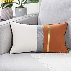 YAERTUN Patchwork Velvet Lumbar Decorative Throw Pillow Cover with Gold Striped Leather Cushion Cases Modern Luxury Pillowcases for Couch Sofa Bed 12x20 Inches Orange