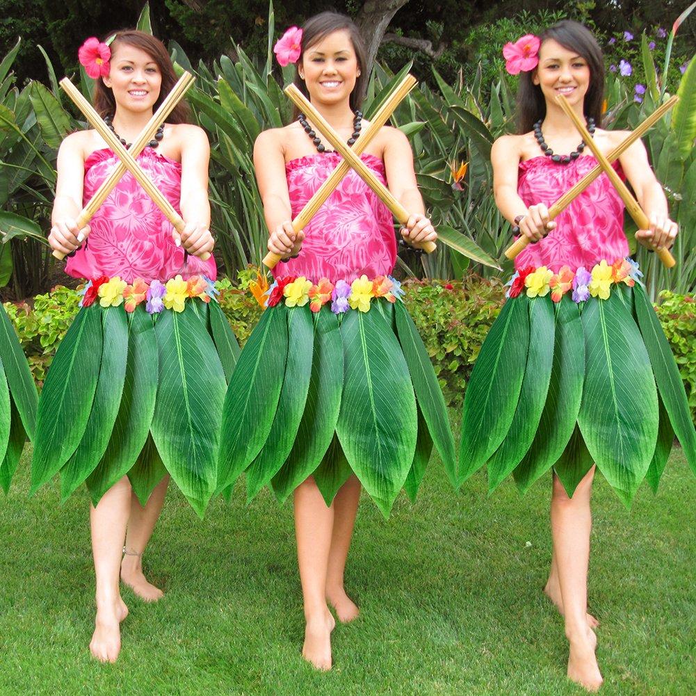 Amazon.com: Party Decorative Leaf Hula Skirt Hawaiian Hula ...