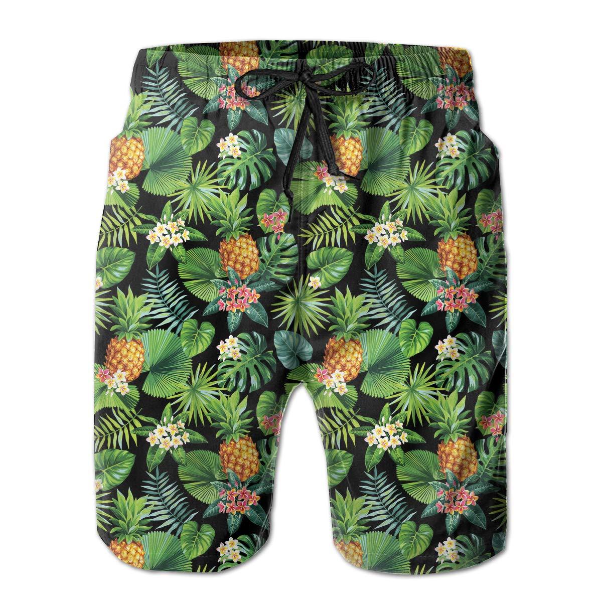 Xk7@KU Mens Athletic Beach Shorts Polyester Hawaiian Pineapples Pattern Beachwear with Pockets