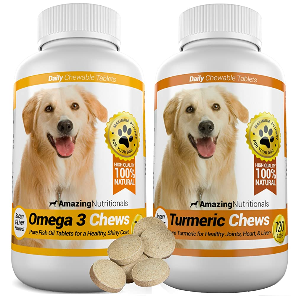 Amazing Combo Omega-3 Fish Oil and Turmeric Curcumin for Dogs – Pure All-Natural Pet Antioxidant – Promotes Shiny Coat, Brain Health, Eliminates Diarrhea Gas and Joint Pain, 120 Tasty Chews x 2
