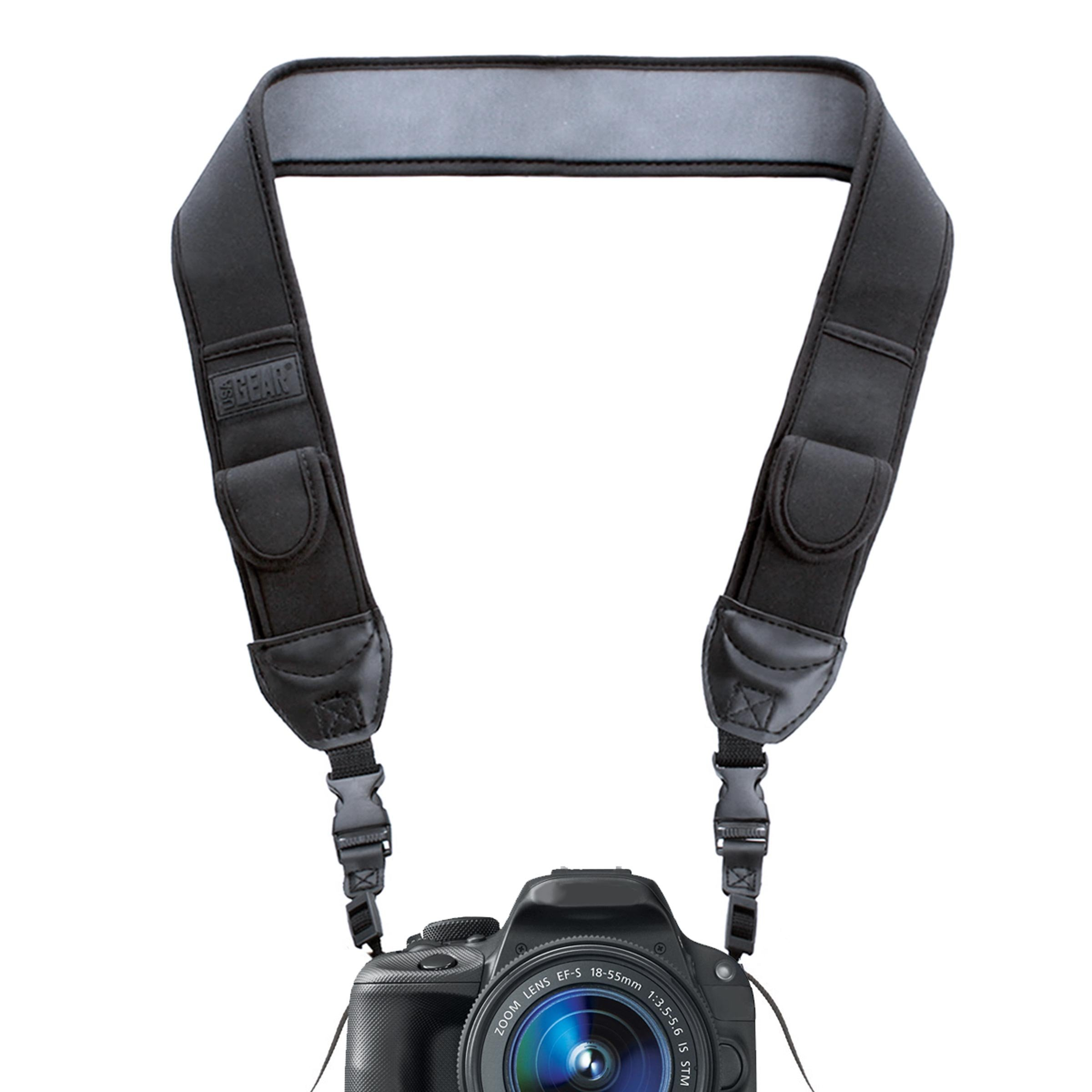 Neoprene Camera Strap Neck with Quick Release Buckles and Accessory Storage Pockets by USA Gear - Works With Canon, Fujifilm, Nikon, Sony and More DSLR, Mirrorless, Instant Cameras