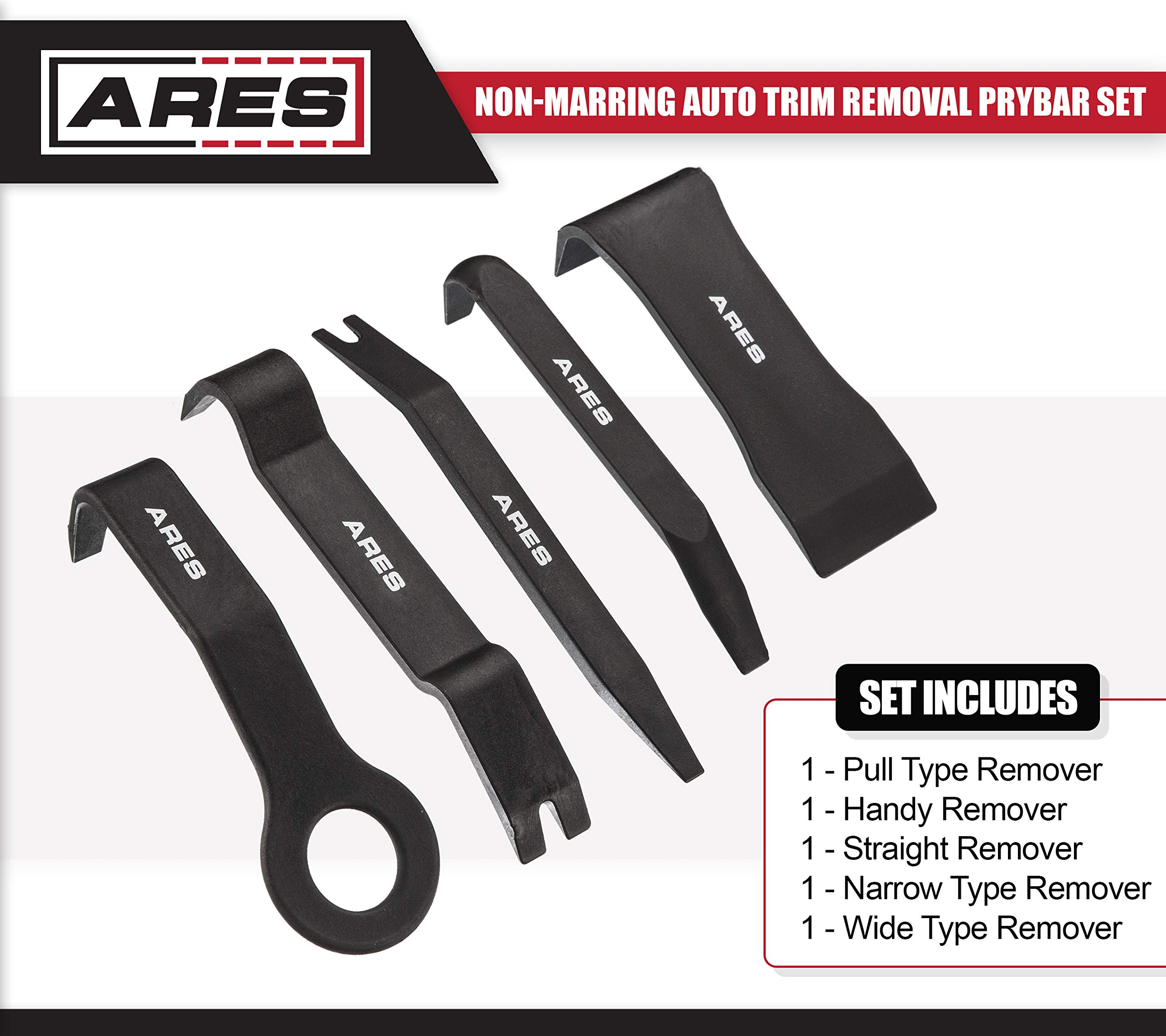 ARES 70223 | 5-Piece Non-Marring Auto Trim Removal Prybar Set | Remove Trim with Ease | Fasteners, Molding, and Dash Panel Removal Set by ARES (Image #2)