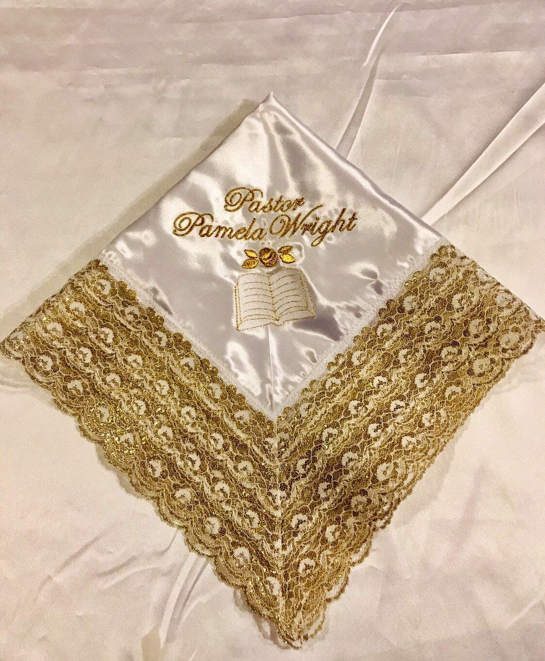 Women\u2019s Lace Handkerchief Custom Woman\u2019s Handkerchief First Lady Church Handkerchief Personalized Initial Handkerchief