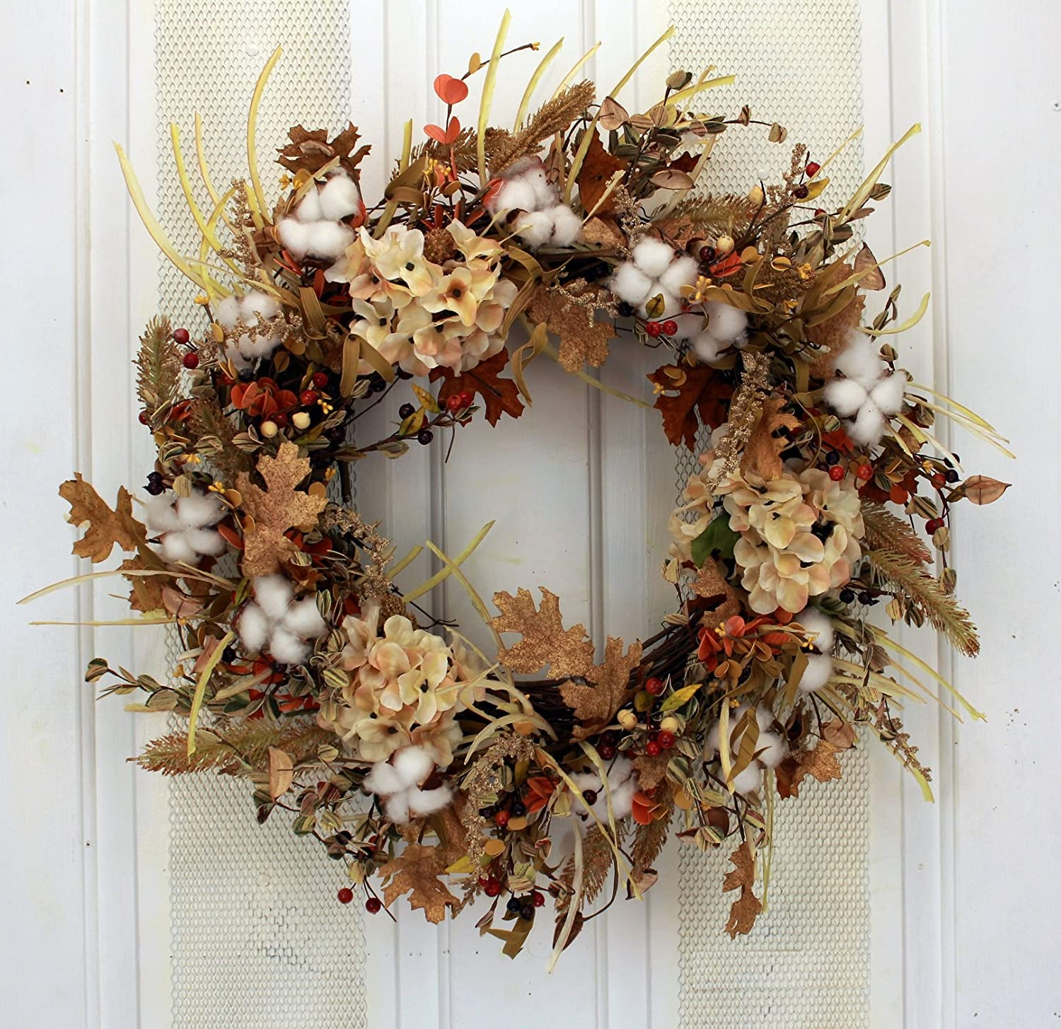 Amazon.com: Autumn Cotton Fields Fall Decorative Wreath Front Door ...