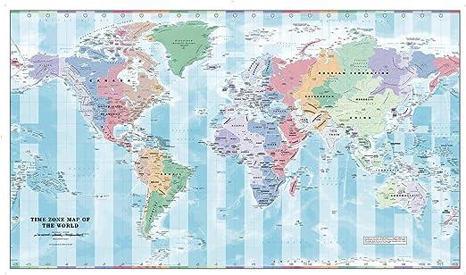 Fuso Orario Cartina Mondo.Fuso Orario Da Parete Mappa Del Mondo 104 1 X 62 2 Cm Laminato Amazon It Cancelleria E Prodotti Per Ufficio