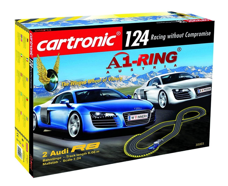 """Auto-Rennbahn """"A1-Ring Austria  von Cartronic im Maßstab 1 24, umfangreiches Komplett-Set – Bahnlänge 6m, mit 2 Audi R8-Modellen und Rennstrecke"""
