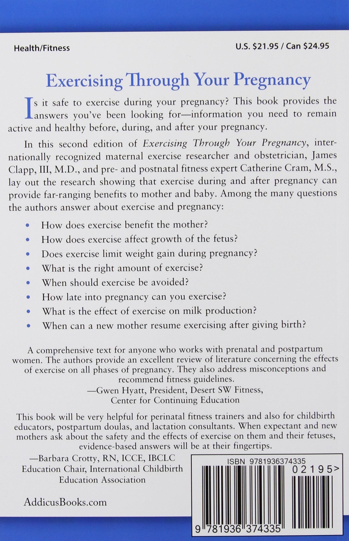 Exercising through your pregnancy james f clapp iii md exercising through your pregnancy james f clapp iii md catherine cram ms 9781936374335 amazon books nvjuhfo Image collections