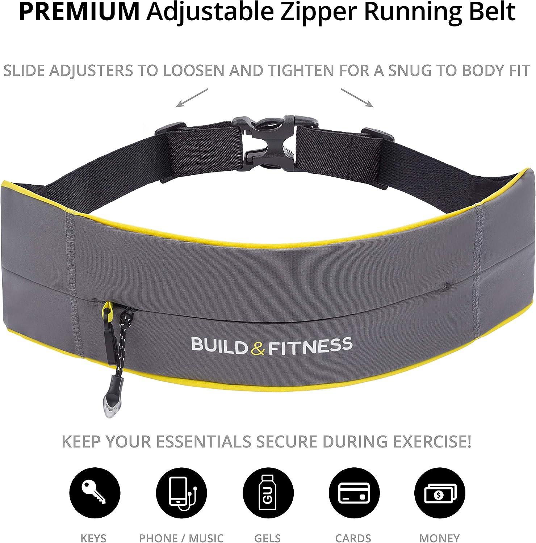 S10 Femmes XS Compatible iPhone 8plus pour Hommes Coureurs Jogging Build /& Fitness Ceinture de Course zipp/ée 11 Samsung S9 Gym Exercices Taille Ajustable avec Porte-cl/és