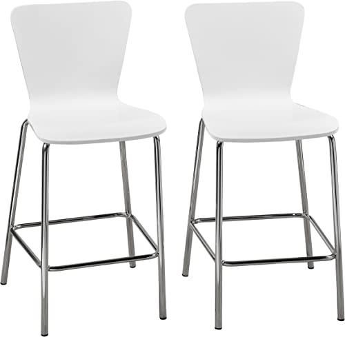 Target Marketing Systems Pisa Collection Modern Armless Counter Stools with Chrome Plated Legs and Concave Back Design, Set of 2, 30 , White Silver