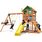 Gorilla Playsets 01-1063-Y Outing Wood Swing Set with Wood Roof & Yellow Slide, Amber
